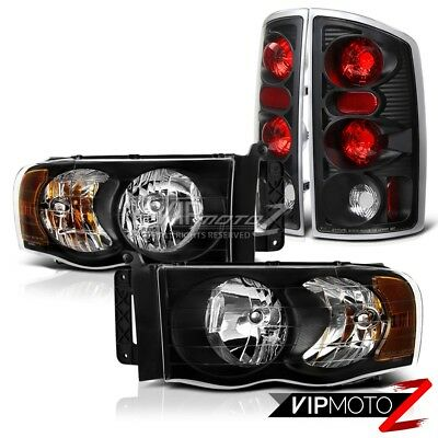 $131.41 • Buy 2002-2005 Dodge Ram 1500 2500 3500  HARLEY STYLE  Black Headlights Tail Lights