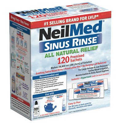 View Details NEILMED SINUS RINSE ALL NATURAL RELIEF 120 PREMIXED SACHETS SALINE IRRIGATION • 19.95AU