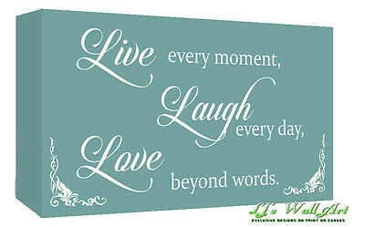 Duck Egg Blue Live Laugh Love Quote Canvas Wall Art Print - A1, A2 + Sizes • 16.49£