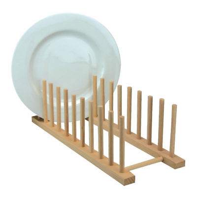 £7.99 • Buy Wooden Kitchen Sink Dish Drainer Sturdy Wood Plate Cups Drying Stand Rack Long L