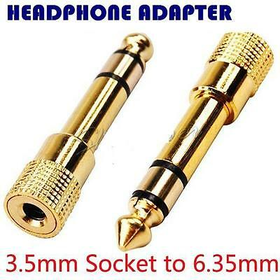 Headphone Adapter GOLD PLATED 3.5mm Socket To 6.35mm Jack Plug Audio Convertor • 1.80£