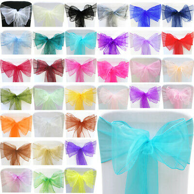 £18.49 • Buy 1 10 50 100 Organza Sashes Chair Cover Bow Sash WIDER FULLER BOWS Wedding Party