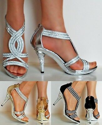 £20.99 • Buy New Womens Party Prom Diamante Ankle Straps Mid Heel Shoes Sandals Size-6606