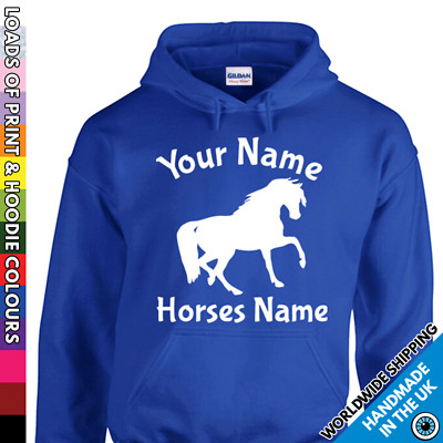 Adult Custom Horse Hoodie Your Horses Pony Name Personalised Mens Ladies Hooded • 17.99£