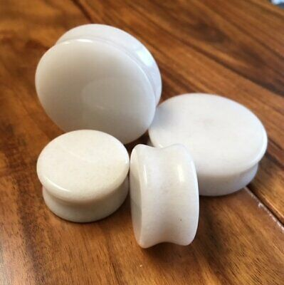 $7.95 • Buy PAIR White Jade Organic Stone Plugs Gauges - Up To 38mm Available!
