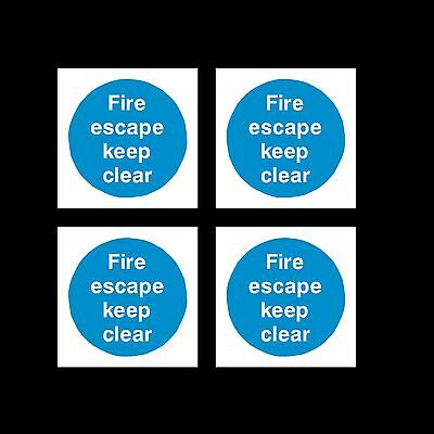 4x Fire Escape Keep Clear  85mm X 85mm Plastic Sign Or Sticker • 0.99£