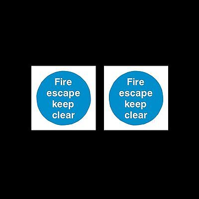 2x Fire Escape Keep Clear 85mm X 85mm Plastic Sign Or Sticker • 0.99£