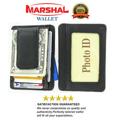 $8.99 • Buy Mens Leather Wallet Money Clip Credit Card ID Holder Front Pocket Thin Slim NEW