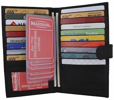 $10.99 • Buy Genuine Leather Credit Card Holder Wallet 19 Card Slots + 1 ID Window With Snap