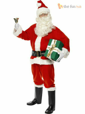 Mens Santa Claus Full Costume Festive Father Christmas Xmas Fancy Dress Outfit • 19.95£
