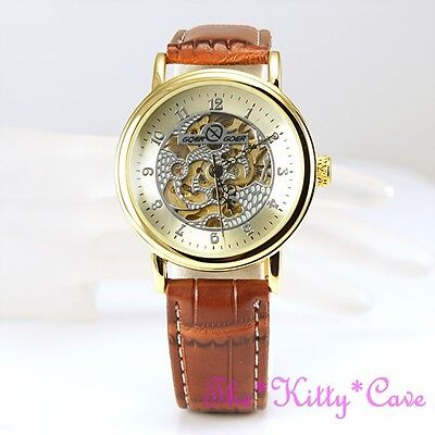 £32.99 • Buy Gold Mechanical Hollow Skeleton Steampunk Tan Leather Traditional Wind-up Watch