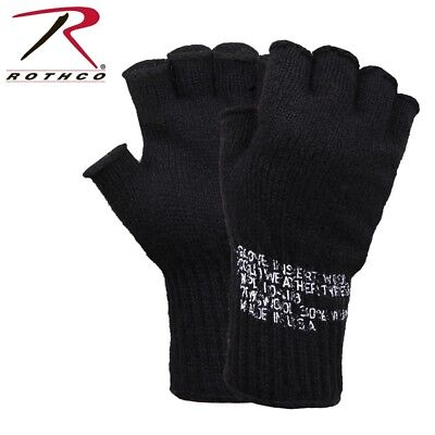 $9.98 • Buy Black D-3A Military Wool Fingerless Glove Liners Skiing Hunting USA Rothco 8411