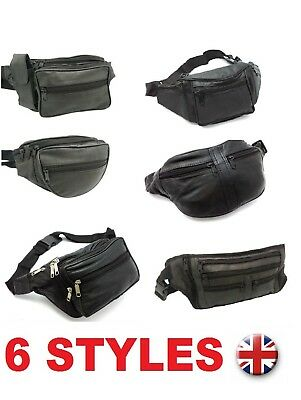 £4.95 • Buy Real Leather Bum Waist Bag Travel Holiday Money Belt Pouch Black Fanny Bumbag
