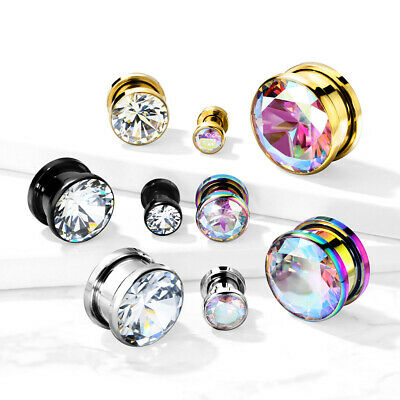 $11.25 • Buy PAIR Large Clear Or AB Gem PVD Plated Screw Fit Tunnels Ear Plugs Earlet Gauges