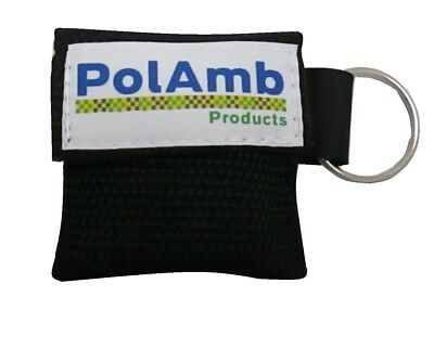 2 X CPR Face Shield In Keyring Black Pouch- Ambulance First Responder, Paramedic • 4.60£