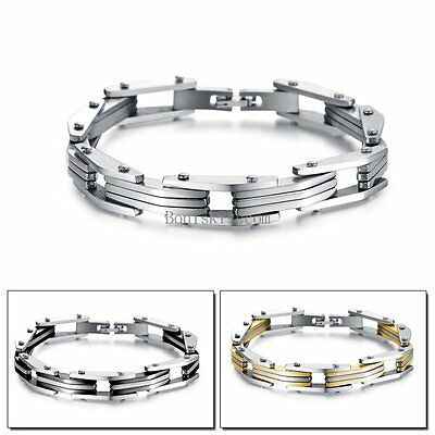 Stainless Steel Motorcycle Biker Chain Wristband Men's Bracelet Color Selectable • 7.23£