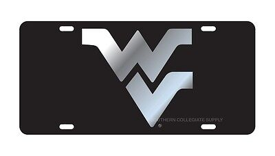 $ CDN30.17 • Buy WVU WEST VIRGINIA UNIVERSITY Mountaineers Black Mirrored License Plate / Car Tag