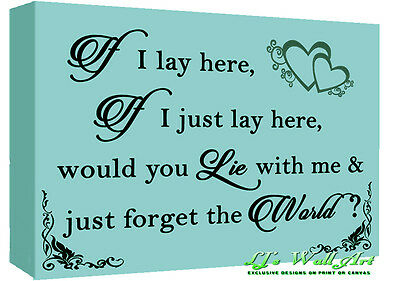 If I Lay Here - Snow Patrol QUOTE Canvas Wall Art Picture Print - Duck Egg Blue • 16.49£