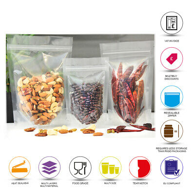 Stand Up Pouch Clear Pouch Sealable Zip Lock Grip Heat Seal Food Packaging Pouch • 1.99£