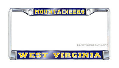 $ CDN24.12 • Buy WVU WEST VIRGINIA  Mountaineers  Chrome Mirrored License Plate Tag / Frame