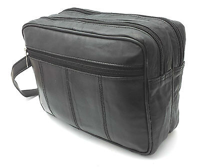 New Mens Soft Leather Toiletry Travel Wash Bag Travel Kit Overnight Gift • 6.95£