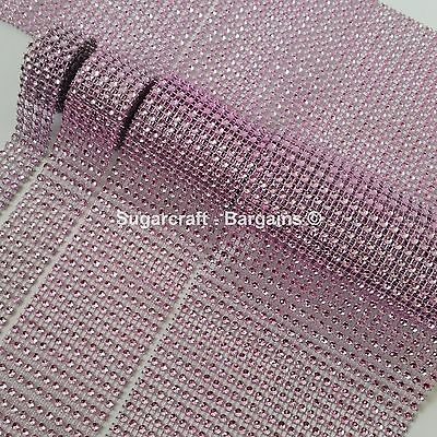 BABY PINK Diamante Bling Sparkling Diamond Effect Wedding Cake Craft Trim Ribbon • 0.99£