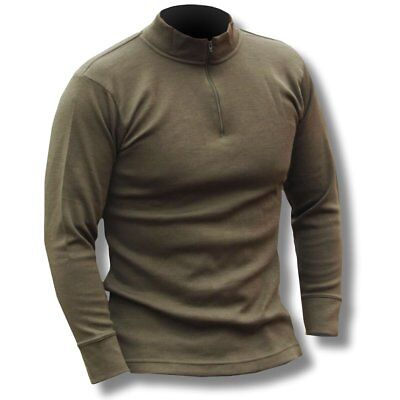 Italian Army Zipped Green Thermal Shirt Norgie Style Long Sleeve Base Layer Top • 11.95£