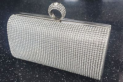 £16.99 • Buy Bling Silver Diamond Crystal Stone Evening Bag Clutch Purse Party Prom Wedding