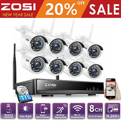 AU339.49 • Buy ZOSI 1080P CCTV Wireless Security IP Camera System 8CH NVR Outdoor WiFi 1TB Home