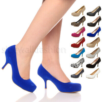 £9.99 • Buy Womens Ladies Low Mid Heel Concealed Platform Work Party Court Shoes Pumps Size