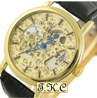 £32.99 • Buy Gold Pl Heirloom Mechanical Windup Skeleton Steampunk Black Leather Unisex Watch
