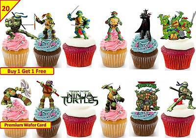 £5.58 • Buy 40 Teenage Mutant Ninja Turtles Cup Cake Wafer Rice Toppers Edible *STAND UP*