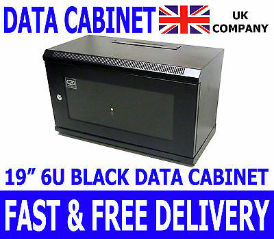AU134.80 • Buy 6U 19  Black Data Cabinet Wall Mounted Network Comms Patching Rack 600*300mm
