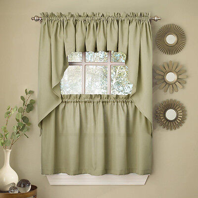 $13.99 • Buy Sage Solid Opaque Ribcord Kitchen Curtains - Choice Of Tiers Valance Or Swag