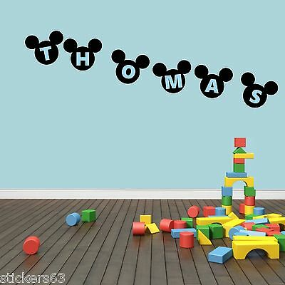 Personalised Mickey Mouse Ears Wall Art Sticker Boys Bedroom PRICE IS PER LETTER • 1.49£