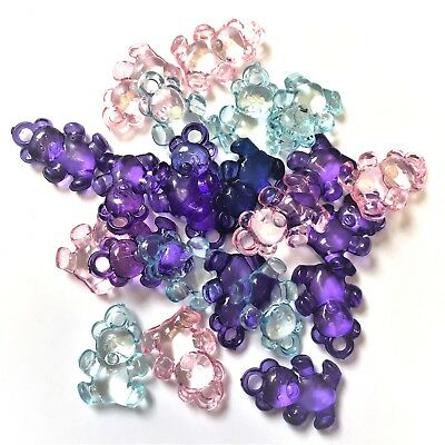 £3.30 • Buy 20 X Mixed (4 COL) Teddy Bear Charms, Plastic Charms Baby Shower, Dummy Clips