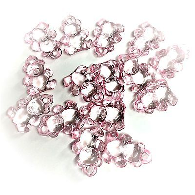 £3.30 • Buy 20 X Baby Pink Teddy Bear Charms Clear Charms Baby Shower, Dummy Clips