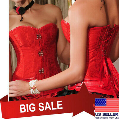 £5.02 • Buy Brocade Jacquard Steampunk Red Overbust Corset Claps Fasteners Top Gothic S-2XL