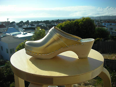 $111 • Buy Authentic Swedish Wood  Clogs By Maguba GOLD Leather