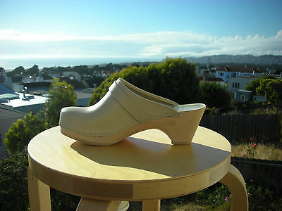 $111 • Buy Authentic Swedish Wood  Clogs By Maguba Beige Leather