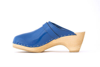 $111 • Buy Authentic Swedish Wood  Clogs By Maguba Royal Blue Patten Leather