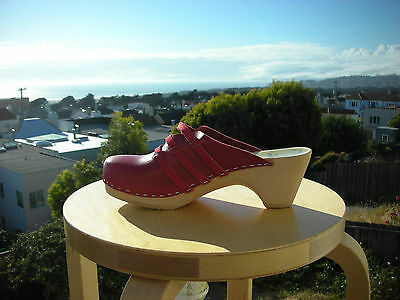 $111 • Buy Authentic Swedish Wood  Clogs By Maguba RED LEATHER