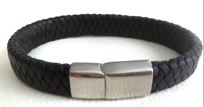 £5.99 • Buy Mens Genuine Flat Leather Braided Wristband Bracelet Stainless Steel Clasp