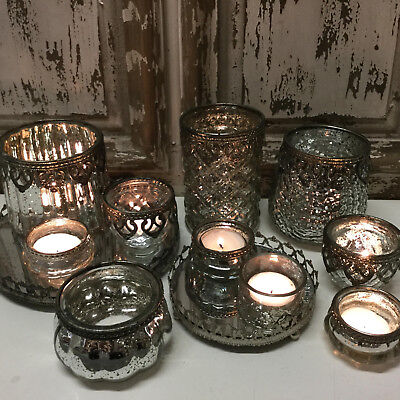 £4.69 • Buy Chic Antique Style Glass & Metal Vintage Tea Light Candle Holder French Country