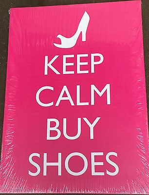 Keep Calm And Buy Shoes, Pink Background 13  X 18  Canvas On Wooden Frame • 7.49£