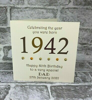 80th 1940 Year You Were Born Birthday Card Personalised 6  Dad Grandad Uncle Bro • 3.75£