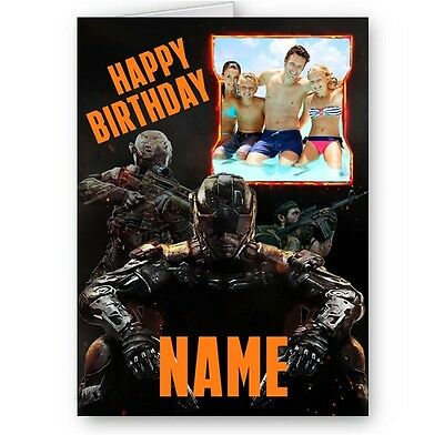 £3.49 • Buy Personalised Photos & Name Call Of Duty Black Ops Theme A5 Birthday Card