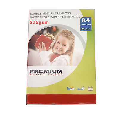 £4.97 • Buy Premium Photo Paper - Double Sided Ultra Gloss & Matte - A4 - 235gsm - 20 Sheets