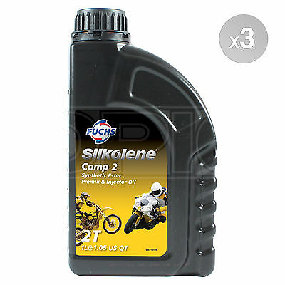 Silkolene Comp 2 2T 2 Stroke Motorcycle Engine Oil 3 X 1 Litre 3L • 36.95£