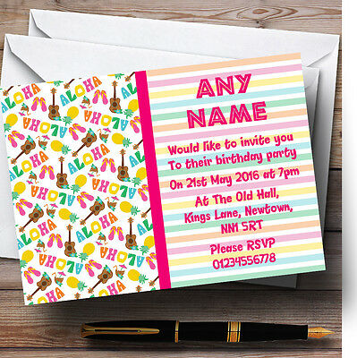 Stripy Tiki Hawaiian Tropical Luau Personalised Birthday Party Invitations • 6.95£
